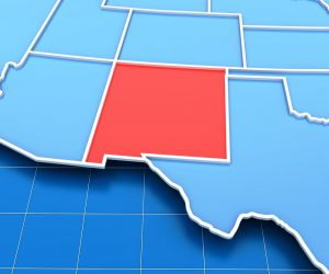 3d render of USA map with New Mexico state highlighted